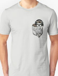 Pocket Sloth With Music Headphones  Unisex T-Shirt