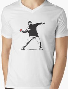 Anarchist Ash Ketchum Mens V-Neck T-Shirt