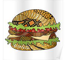 Colorful hamburger illustration Poster