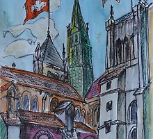 Watercolor Sketch - Saint Pierre Cathedral, Geneva 2014 by Igor Pozdnyakov