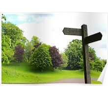 Old Signpost in a Park Poster