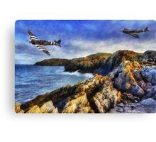 Spitfires On The Coast Canvas Print