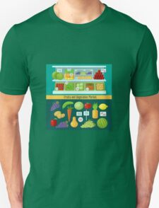 Fruits and Vegetables Market. Healthy Eating Concept Unisex T-Shirt