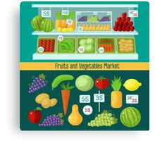 Fruits and Vegetables Market. Healthy Eating Concept Canvas Print