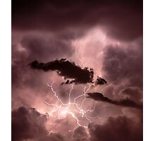 Cloudscape with thunder bolt Photographic Print