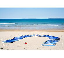 surf boards at surf school Photographic Print