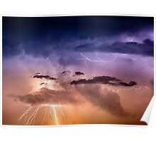 Cloudscape with thunder bolt Poster