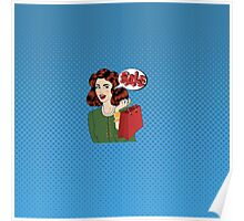 Pop art Style Sale banner. Vintage Girl with Shopping Bags in Comics Style Poster