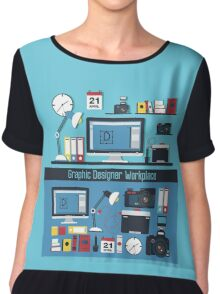 Graphic Designer Workplace Concept. Table with Computer and Designer Tools and set of elements Chiffon Top