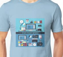 Graphic Designer Workplace Concept. Table with Computer and Designer Tools and set of elements Unisex T-Shirt
