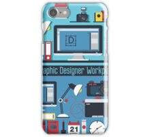 Graphic Designer Workplace Concept. Table with Computer and Designer Tools and set of elements iPhone Case/Skin