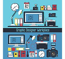 Graphic Designer Workplace Concept. Table with Computer and Designer Tools and set of elements Photographic Print