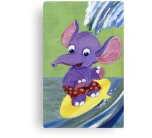 Surfing Elephant Canvas Print