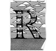 Letter R Architecture Section Alphabet Poster