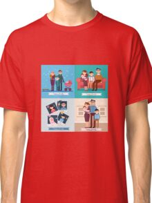 Happy Family with Newborn Baby. Set of vector illustrations Classic T-Shirt