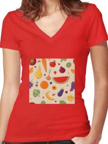 Healthy Food Seamless Pattern with Fruits and Vegetables Women's Fitted V-Neck T-Shirt