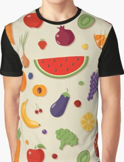 Healthy Food Seamless Pattern with Fruits and Vegetables Graphic T-Shirt