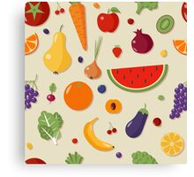 Healthy Food Seamless Pattern with Fruits and Vegetables Canvas Print