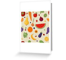 Healthy Food Seamless Pattern with Fruits and Vegetables Greeting Card