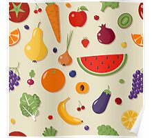 Healthy Food Seamless Pattern with Fruits and Vegetables Poster
