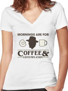 Top Seller - Stranger Things: Mornings are for Coffee and Contemplation (version one) Women's Fitted V-Neck T-Shirt