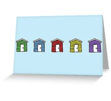 Rainbow Beach Huts Greeting Card