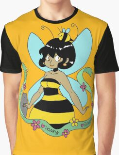 Bee Fairy and Cat Graphic T-Shirt