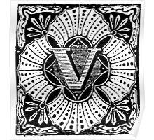 Small Cap Letter V Poster