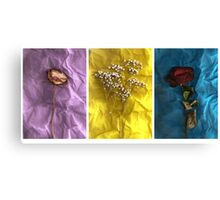 Triptych: Crumpled Flowers Canvas Print