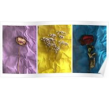 Triptych: Crumpled Flowers Poster