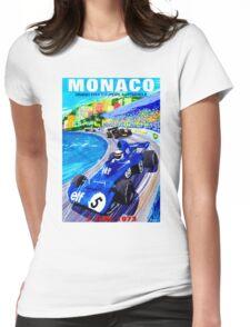 """MONACO GRAND PRIX"" Vintage Auto Racing Print Womens Fitted T-Shirt"
