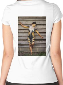 Badillo Preistess Shaman Queen Nymph of ebony, ivory and gold Women's Fitted Scoop T-Shirt