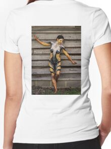 Badillo Preistess Shaman Queen Nymph of ebony, ivory and gold Women's Fitted V-Neck T-Shirt