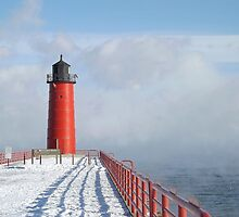 Milwaukee Lighthouse With Sea Smoke by Timothy  Ruf