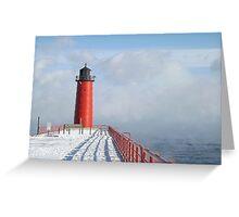 Milwaukee Lighthouse With Sea Smoke Greeting Card