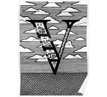 Letter V Architecture Section Alphabet Poster