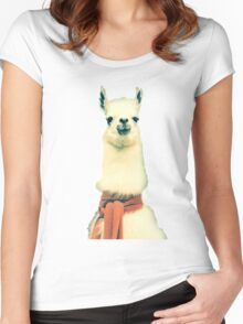 Creepy Alpaca  Women's Fitted Scoop T-Shirt
