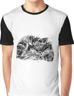 Sleepy Persian Kitty Graphic T-Shirt