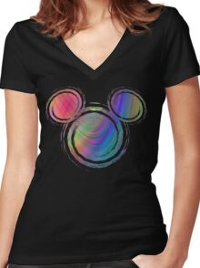 colorful  mickey Women's Fitted V-Neck T-Shirt