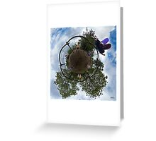 Siblings on a 6 Seater Swing Greeting Card