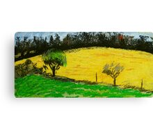 two trees along a fence French countryside Canvas Print