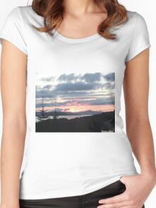 Last rays over Tingle Creek Women's Fitted Scoop T-Shirt