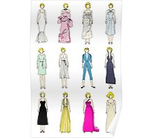 Marilyn Fashion Pattern on White Poster