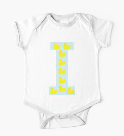 Duckling initial I blue One Piece - Short Sleeve