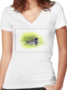 Lone Loon Vignette Women's Fitted V-Neck T-Shirt