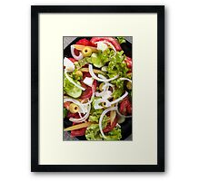 Top view of a salad made from natural raw vegetables Framed Print