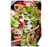 Top view of a salad made from natural raw vegetables Poster