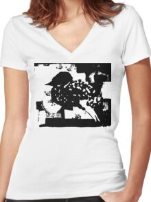 Birdy Graphic Doodle Women's Fitted V-Neck T-Shirt