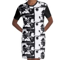 Birdy Graphic Doodle Graphic T-Shirt Dress