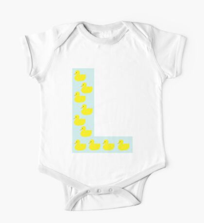 Duckling initial L blue One Piece - Short Sleeve